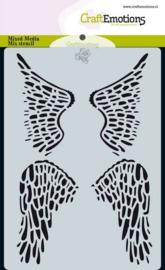 CraftEmotions Mask stencil Angel & Bear - vleugels - A6