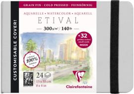 Clairefontaine Etival Aquarelpapier boek - 15 x 10 cm - 24 vellen 300 grams  - cold pressed + 32 afneembare kaartjes