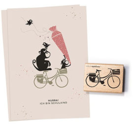 Cats on Appletrees - Houten stempel - 50x35mm - Bicycle 2 - Dutch Bike