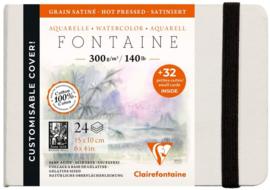 Clairefontaine Etival Aquarelpapier boek - 15 x 10 cm - 24 vellen 300 grams  - hot pressed  + 32 afneembare visitekaartjes