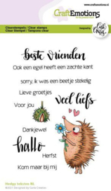 CraftEmotions clearstamps A6 - Hedgy teksten - Carla Creaties