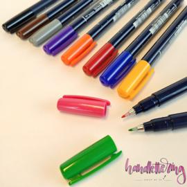Tombow Fudenosuke Brush Pen / kalligrafie - hard WS-BH - set van 10 kleuren
