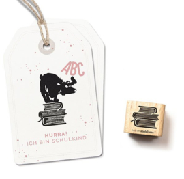 Cats on Appletrees - Houten stempel - 20x20mm - Pile of Books