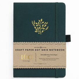 Archer & Olive bulletjournal/Notitieboek A5 Deep Green - 160 pagina's - Dotted - Kraft Papier