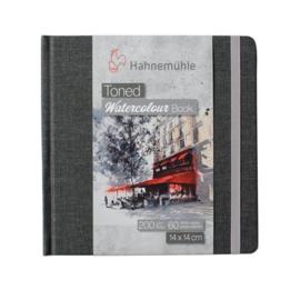 Hahnemühle Grey toned watercolour book 14 x 14 cm - 60 pagina's - Grijze kaft - Lichtgrijs papier