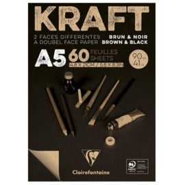 Clairefontaine Kraft A5 - 60 vellen - 90 gram - kraft zwart papier