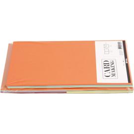 CARD MAKING dubbele blanco Kaarten 15 x 15 cm & enveloppen - Blauw, Geel, Groen, Oranje, Rood papier - set van 50