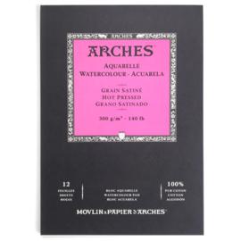 Arches Aquarelpapier - Hot pressed - 300 grams - 12 vellen - A5