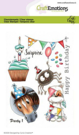 CraftEmotions clearstamps A6 - Party 1 - Carla Creaties  - set van 9