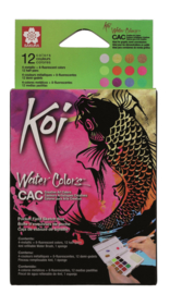 Koi Water Colors Sketchbox - set van 12 inclusief  Metallic and Reflex + waterbrush
