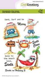 CraftEmotions clearstamps A6 - Santa on Holiday 2 - Carla Creaties