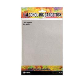 Tim Holtz alcohol ink cardstock - 12,7 x 17,8cm -10 vellen - Silver Sparkle