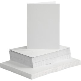 CARD MAKING dubbele blanco Kaarten 10,5 x 15 cm & enveloppen - wit papier - set van 50