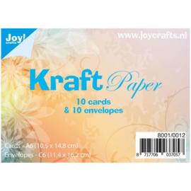 Joy Crafts dubbele kaarten & enveloppen A6 - kraft papier - set  van 10
