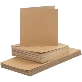 CARD MAKING dubbele blanco Kaarten 15 x 15 cm & enveloppen - Bruin papier - set van 50