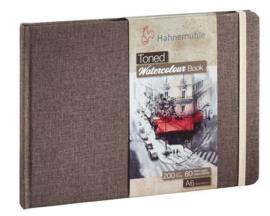 Hahnemühle Beige toned watercolour book A6 landscape - 60 pagina's - Bruine kaft - Beige papier