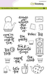 CraftEmotions clearstamps A5 - Handletter - Tea Time (Eng) - Carla Kamphuis