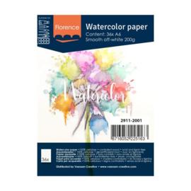 Florence Aquarelpapier smooth off white  - 36 vellen 200 grams papier - A6