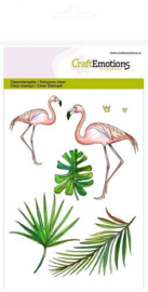 CraftEmotions clearstamps A6 - flamingo - set van 7