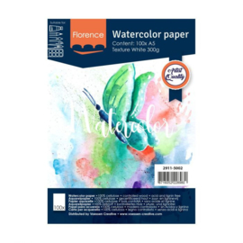 Florence Aquarelpapier texture Intense White - 100 vellen 300 grams papier - A5