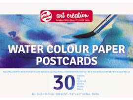Talens Art Creation Waterverf papier postkaarten A6 14,8 x 10,5 cm - 30 vellen