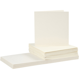CARD MAKING dubbele blanco Kaarten 15 x 15 cm & enveloppen - Off-white papier - set van 50