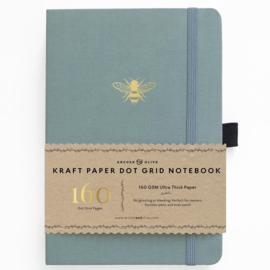 Archer & Olive bulletjournal/Notitieboek A5 Vintage Bee - 160 pagina's - Dotted - Kraft Papier +GRATIS LOOTJE