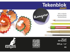 Tekenblok Kangaro A5 - 300 gram -  50 vellen - zwart