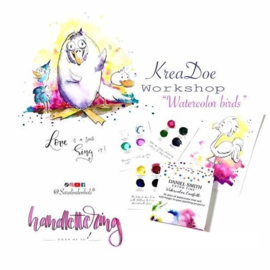 WORKSHOP PAKKET WATERCOLOR BIRDS KreaDoe Online 2020 - by Sara Lindenhols