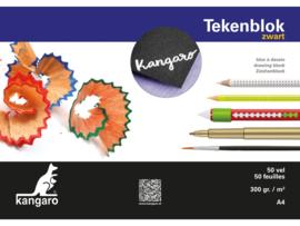 Tekenblok Kangaro A4 - 300 gram -  50 vellen - zwart
