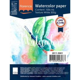 Florence Aquarelpapier texture Intense White - 100 vellen 300 grams papier - A6