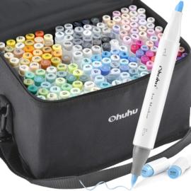 PRE-ORDER: Ohuhu Alcohol based Art markers Brush & chisel - set van 168 + Blender + etui