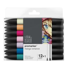Winsor & Newton promarkers Manga Romance - set van 12 + 1 Blender