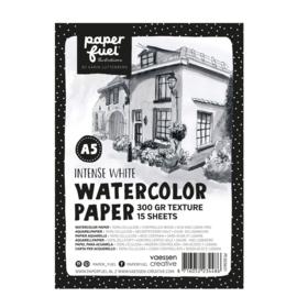 Paperfuel Aquarelpapier texture A5 - 15 vellen 300 grams - intense white
