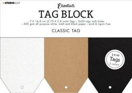Studio Light Labelblok - 60 labels 7 x 14,8 cm - Essentials Classic