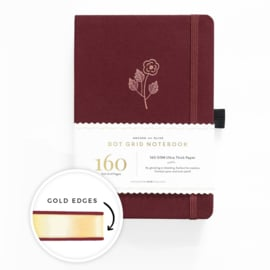 Archer & Olive bulletjournal/Notitieboek A5 - 160 pagina's - Dotted - Rose Gold met gouden rand