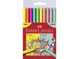 Faber Castell Viltstiften Grip Neon en Pastel kleuren - set van 10