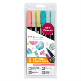 Tombow ABT Dual Brush Pen - set van 6 nieuwe kleuren - Candy colours