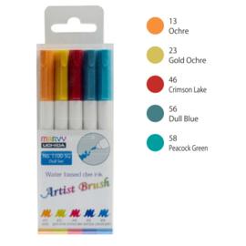 Marvy Uchida Artist Brush Pen - set van 5 - Dull