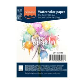 Florence Aquarelpapier smooth off-white - 100 vellen 200 grams papier - A6