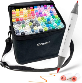 PRE-ORDER:  Ohuhu Alcohol based Art markers Brush & Fine - set van 120 + Blender + etui