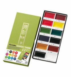 Kuretake Aquarelverf - Gansai Tambi Water Colours Brush Set  - set van 12