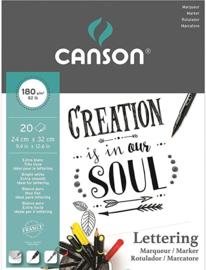 Canson Lettering Marker papierblok - 20 vellen - 180 grams - 24 x 32 cm