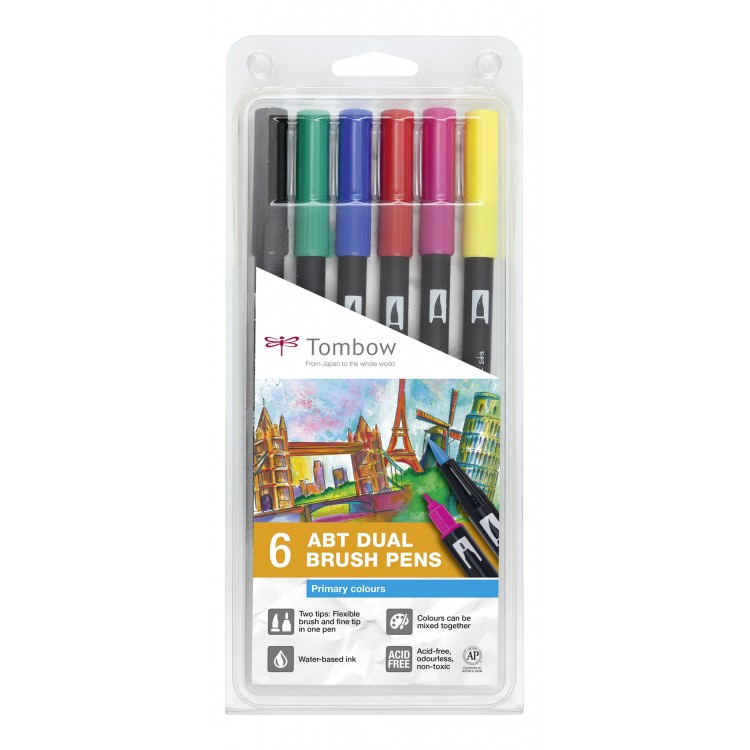 Tombow ABT Dual Brush Pen - set van 6 Primary colours