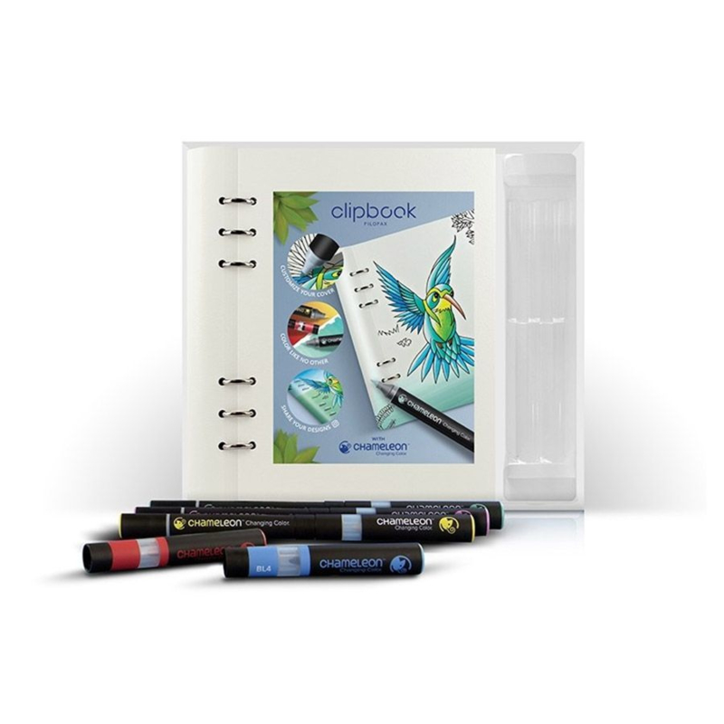 Chameleon Alcohol based Pens - 3 Pens & 2 Color Tops + Filofax Clipbook A5 Notebook