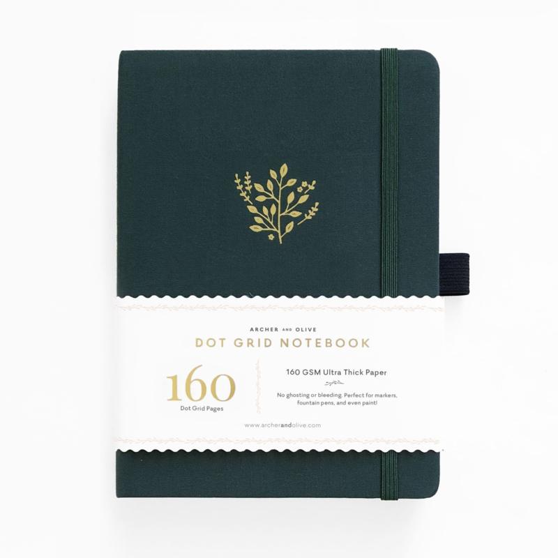 Archer & Olive bulletjournal/Notitieboek B5 17,5 x 25 cm - 160 pagina's - Dotted - Deep Green
