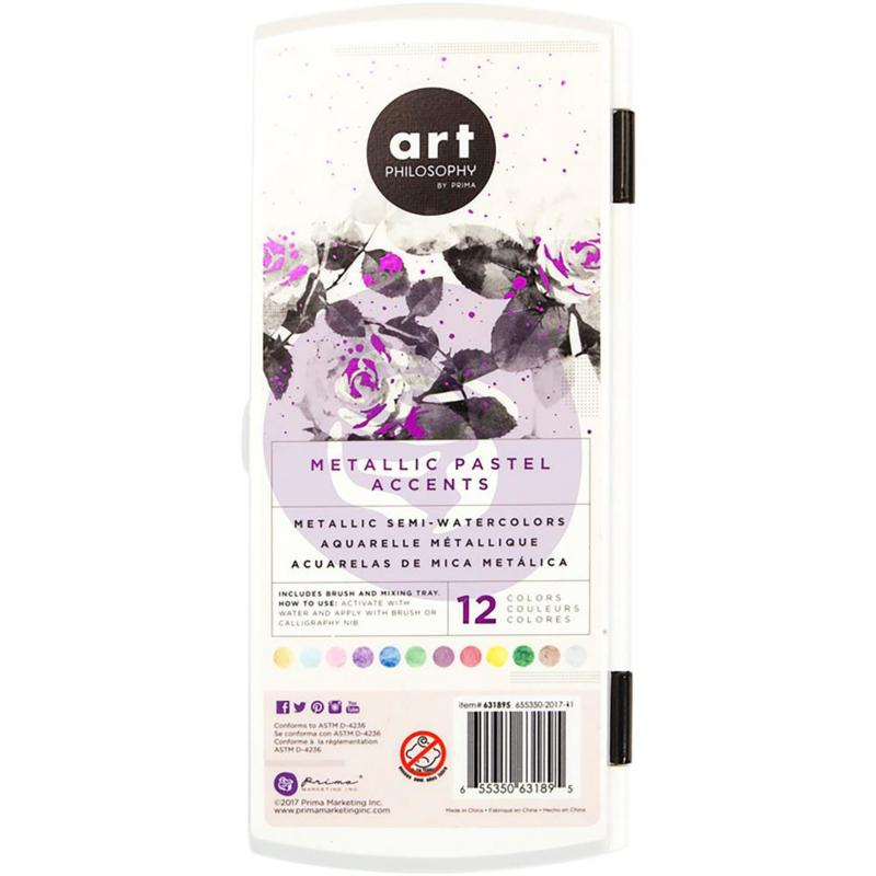 Prima Art Philosophy Metallic Accents Semi-Watercolor aquarelverf - 12 kleuren Pastel - 631895