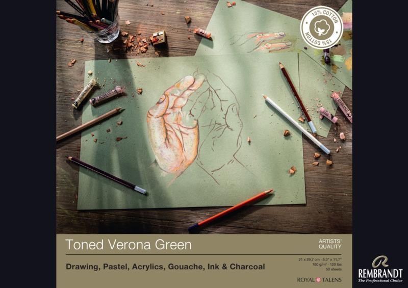 Rembrandt Toned verona green A4 - 50 vellen - 180 grams