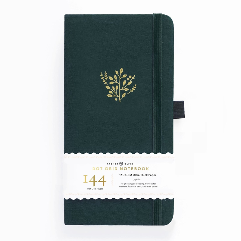 Archer & Olive bulletjournal/Notitieboek 11 x 21cm  - 144 pagina's - Dotted - Traveler's Deep Green