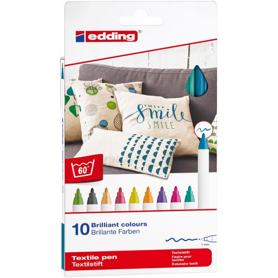 Edding Textielstiften 1 mm - Lichttinten - set van 10